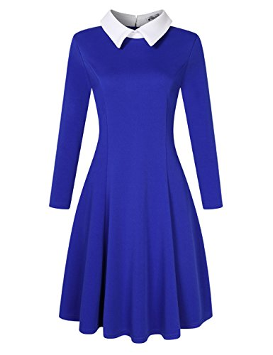 VeryAnn Women's 1950s Retro Cocktail Party Swing Dress With Long Sleeve Blue 2XL