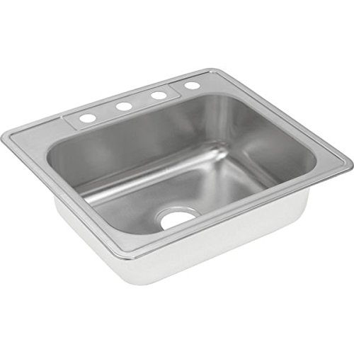 Elkay DXR25221 18 Gauge Stainless Steel Single Bowl Top Mount Kitchen Sink, 25 x 22 x - Stainless Actual Image Steel