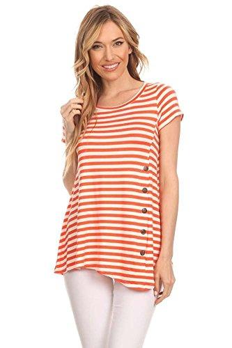 Women's Stripe Print Side Button Trim Cute Tunic. - Made In Usa Womens Tunics