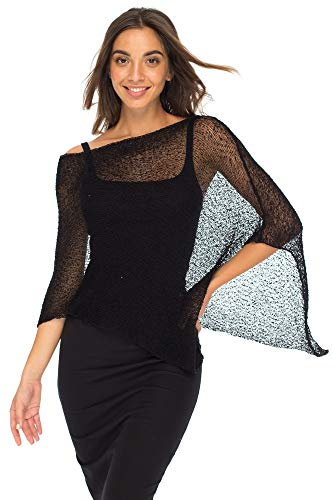 - Back From Bali Womens Sheer Poncho Shrug Bolero, Lightweight Summer Shrug Pullover Sweater Black