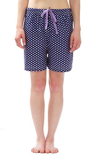 Leisureland Women's Cotton Poplin Pajama Sleepwear Lounge Boxer Shorts Polka Dots Dark Blue (Polka Dots Boxers)