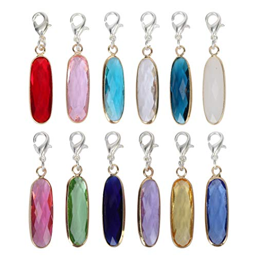 2pcs Clip On December Birthstone Charms with Lobster Clasp Austrian Crystal Beads for Jewelry Craft Making CCP8-12-L