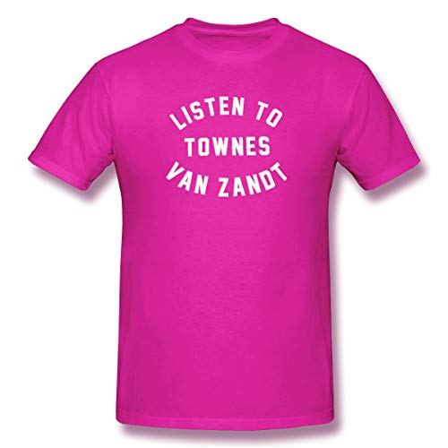 PopularTee Men Listen to Townes Van Zandt Bandana Classic T-Shirts Fuchusia M (Listen To Townes Van Zandt T Shirt)