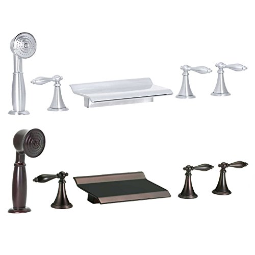 FREUER Scaffale Collection: Handshower Roman Tub Faucet, Brushed Nickel