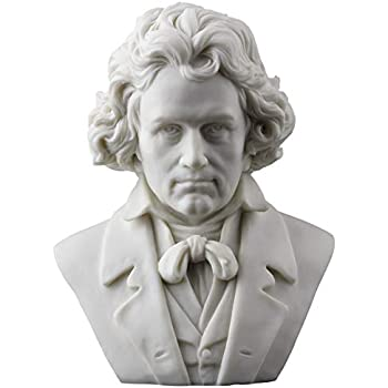 Ludwig Van Beethoven Bust Statue Figurine White Finish