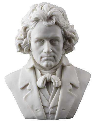 Ludwig Van Beethoven Bust Statue Figurine White Finish