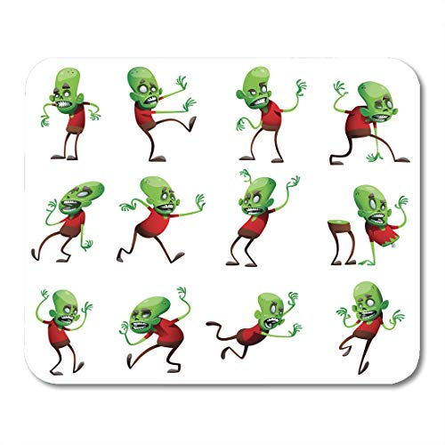 - Nakamela Mouse Pads Twelve Cartoon Images Funny Green Zombies with Big Heads in Brown Pants and Red with Different Actions Mouse mats 9.5