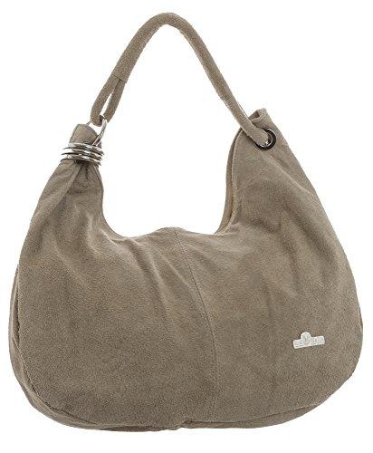 slouch main à pour Vert femme lime style LIATALIA sac hobo suède Taupe épaule 'Fiona' italien Sombre en cabas Large porté qt884a0