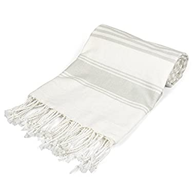 DII 100% Cotton Turkish Fouta Towel, Fast Drying, Ultra Soft, Absorbent Multi Use Blanket - Taupe Stripe