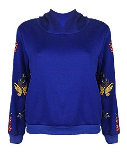 Gogofuture Tops Cappuccio Lunghe Pullover Farfalla Felpe Donna Inverno Caldo Oversize Autunno Blue Hoodie Maniche Maglietta Casual Elegante Cashmere Stampata Plus Sweatshirt con Moda EwHvrw