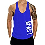 miqiqism Men Hipster Letter Print Muscle Tank Tops Cotton Lightweight Bodybuilding Gym Workout Fitness Stringer Vest T Shirt (Blue, S)