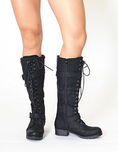 Generation Y Womens Knee High Boots Lace Up Combat Faux Leather Buckle Straps GY-WB-466 Black qGloJ86BpZ