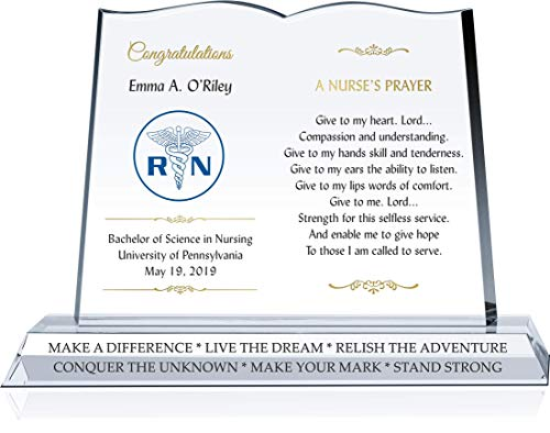 - Personalized Crystal Nurse's Prayer RN Graduation Gift Plaque for Her or for Him, Unique Religious Nursing Graduation Gift for Daughter, Son, Grandchild, Sister, Brother, Niece, Nephew (L - 12