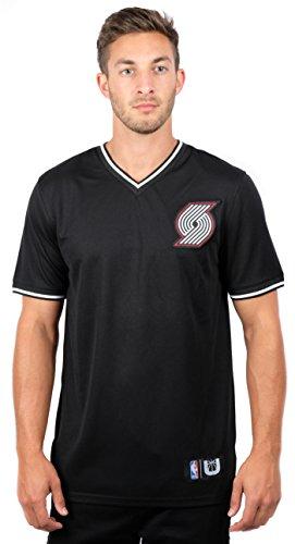 UNK NBA Men's Portland Trail Blazers Jersey T-Shirt V-Neck Air Mesh Short Sleeve Tee Shirt, Medium, Black Trail Short Sleeve Jersey