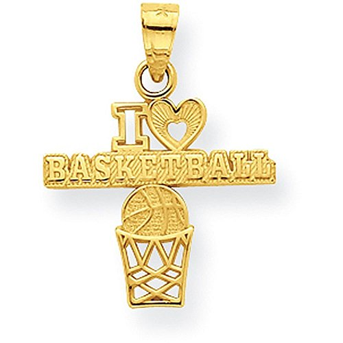 10K Yellow Gold I Love Basketball Charm - (0.87 in x 0.75 in)