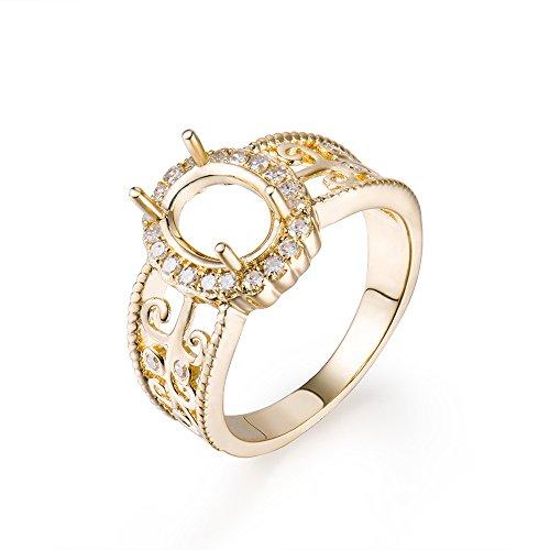Lanmi Oval Cut 7X9mm 14K Yellow Gold Women's Bridal Natural Diamond Semi Mount Ring
