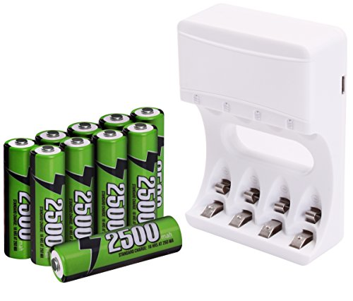 Pack of 10 AA Rechargeable Batteries with Battery Charger - High Capacity - Long Lasting - By Utopia Home