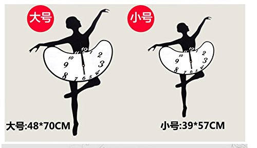 BABYQUEEN European Creative Silence Dance Music Wallclock Bedroom Living Room Simple Personality Art Decorative Clock Black Ballet Send?Sound Spectrum?Wall Stickers