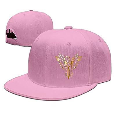 Gold Phoenix Art Solid Flat Bill Hip Hop Snapback Baseball Cap Unisex sunbonnet Hat.