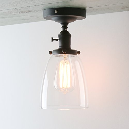 Permo Vintage Industrial Semi Flush Mount Ceiling Light Fixture Pendant Lighting with Oval Cone Clear Glass Shade (Cone Glass Shade Wall Lamp)