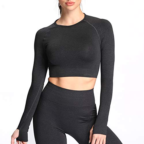 Aoxjox Women's Workout Vital Long Sleeve Seamless Crop Top Gym Sport Shirts