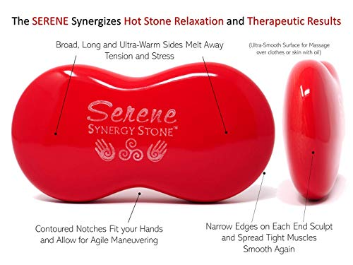 Serene (Fire)(Set of 2) Synergy Stones - Contoured Hot Stone Massage Tools - Deep Heat for Muscle Tension Relief - Relaxing and Therapeutic - Ultra-Smooth for on Skin with Oil or Over Clothes