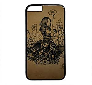 iPhone 4 4S Case, iCustomonline Sketch Girl Designs Protective Case Cover for iPhone 4 4S PC Black