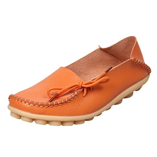 fereshte Women's Casual Lace-up Moccasins Flat Shoes Loafer Boat Shoes Driving Shoes Orange