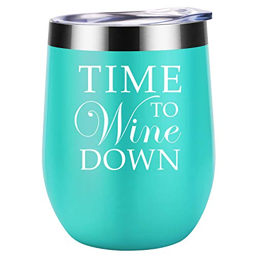 Time to Wine Down | Coolife 12 oz Stainless Steel Novelty Wine Tumbler Insulated Stemless Funny Sippy Cup with Lid and Straw | Perfect Holiday Gift for Everyone