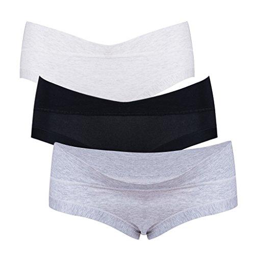 bbb9e92f7d34e Intimate Portal Women Under the Bump Maternity Panties 3-Pk Black White  Gray L