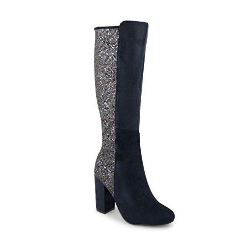 Footwear Sensation - botas altas mujer Navy Suede Glitter