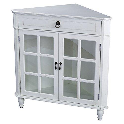 Heather Ann Creations Modern 2 Door Corner Cabinet With Drawer With 6 Pane Mirror Insert Antique (Mirror Insert Accents)