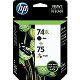 HP 74XL Black & 75 Tri-Color Combo Saver Pack