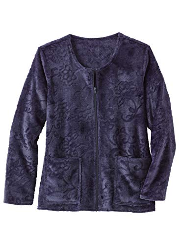 AmeriMark Fleece Bed Jacket Plus Size Navy ()