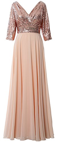 Chiffon Rose Formal Mother 4 Dress Gown 3 Sleeve V Women Wedding MACloth Gold Neck Sequin BwqSpp