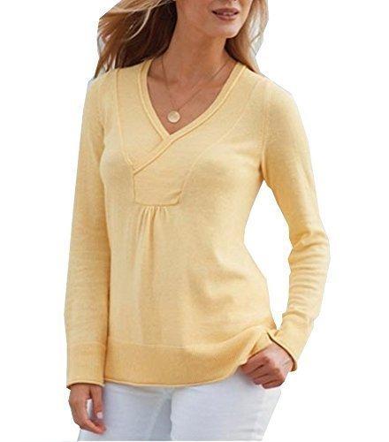 suéter con cuello en V Mujer de Eddie Bauer amarillo