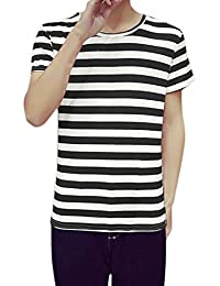 uxcell Men Short Sleeves Crew Neck Pullover Stripes Tee