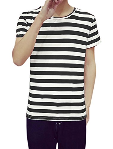 uxcell Men Short Sleeved Crew Neckline Striped T-Shirt M Black