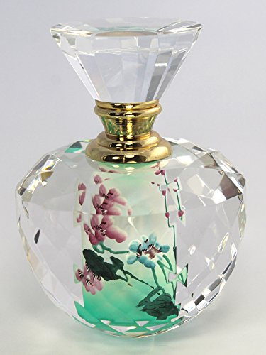 Violet Flowers Art Glass Perfume Bottle - Hand Painted Crystal Parfum Collectible, PBB05-827 (Crystal Glass Violet)