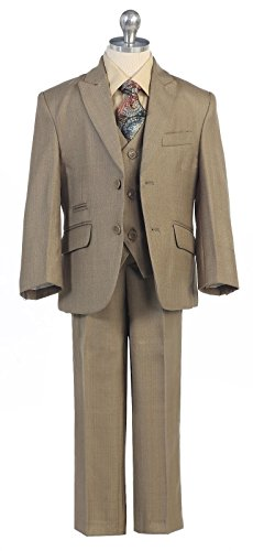 Boys Toddler Kid Teen 5-Piece Formal Sage Dress Suit w/Vest Size 2-20 (16) by Luna
