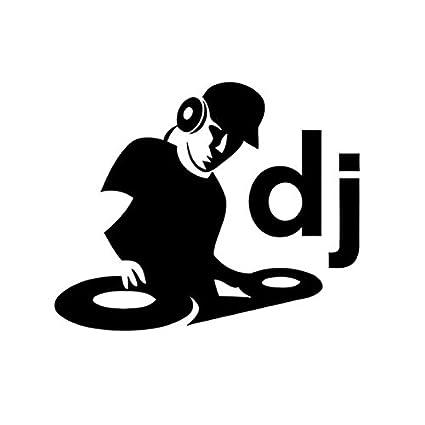 DJ With Turntables Spinning Decal Vinyl Sticker|Cars Trucks Vans Walls  Laptop| BLACK |5 5 in|CCI420