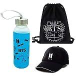 Youyouchard Kpop BTS Bangtan Boys BTS Merchandise Set, Glass Water Bottle 300/350ml + Black Baseball Hat + Sports Bag, for Army(H05-BTS)