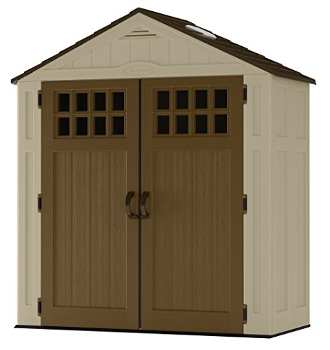 (Suncast 6 ' x 3' Vertical Storage Shed - Outdoor Storage for Backyard Tools and Accessories - All-Weather Resin Material, Transom Windows and Shingle Style Roof - Wood Grain Texture)
