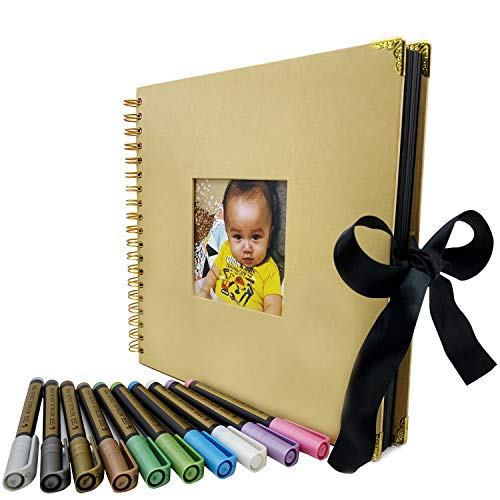 - DIY Memory Scrapbooking Photo Album Book, 80 Pages - Craft Black Paper 10x10 Scrapbook with Metallic Marker Pens Set for Wedding Guestbook, Baby Shower, Anniversary, Graduation