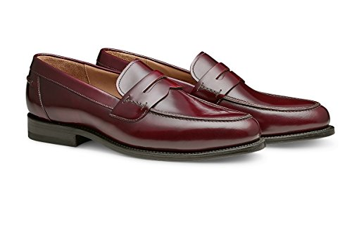 Crafted Shoe Men's Premium Leather Brayson Penny Classic Burgundy Loafer Hand Leather xwUcEFpTq