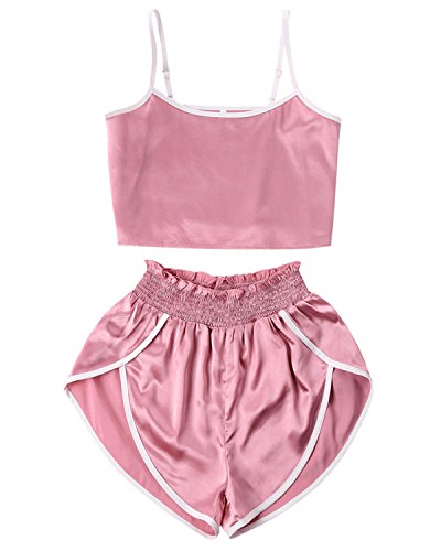 (ZAFUL Women's Sport 2 Pieces Satin Set Spaghetti Strap Crop Tank Top and Dolphin Shorts(Pink,M))