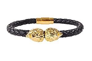 Men's Fashion Dual Gold Lion Head Premium Leather Bracelet