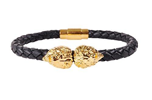 Mens Fashion Dual Gold Lion Head Premium Leather Bracelet
