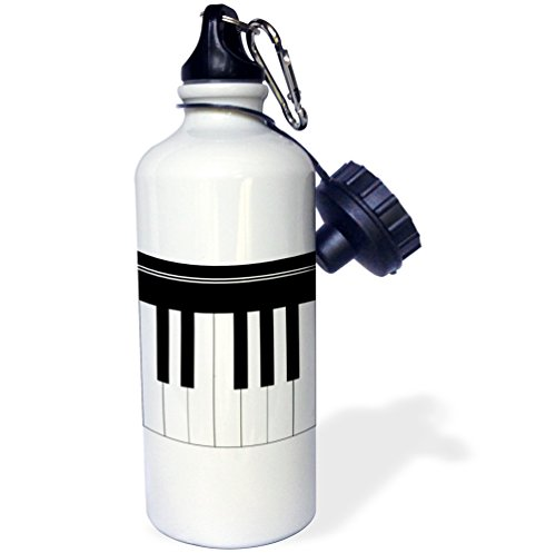 3dRose wb_112827_1 Piano Keys Black and White Keyboard Musical Design Pianist Music Player and Musician Gifts Sports Water Bottle, 21 oz, White