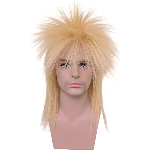 Yilys 80s Heavy Metal Mullet Wig Long Staright Blonde Halloween Rocker style wig For Men Women -